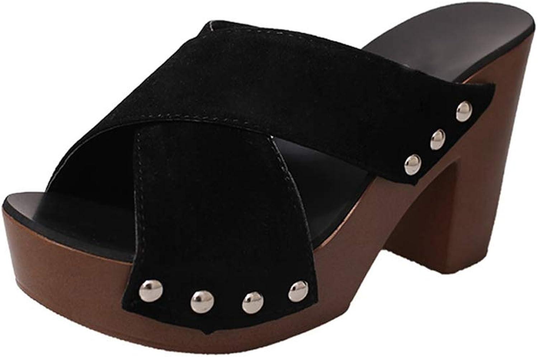 T-JULY Women Fashion shoes Women Cross Strap Chunky Heel Sandal Thick High-Heeled Flip Flop Open Toe Sandal Platform