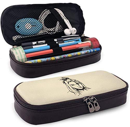 Bil-Lie Stick Figure Pencil Case Pen Bag Pouch Holder Makeup Bag for School Office College
