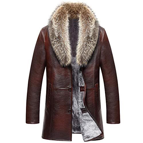 Dilusso 2020 Neue Marke Echtpelz Kragen Lederjacke Herren Russische Winter Einreiher Windbreaker Jacke Männlich Verdickt Lederjacke-Brown_4XL