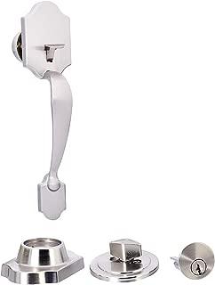 AmazonBasics Standard Handle Set with Lock and Deadbolt, Classic Door Knob, Satin Nickel