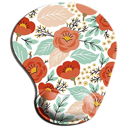 ITNRSIIET Mouse Pad, Ergonomic Mouse Pad with Gel Wrist Rest Support, Floral Mousepad with Lycra Cloth, Non-Slip PU Base for Gaming Computer, Laptop, Home, Office & Travel Flowers-1