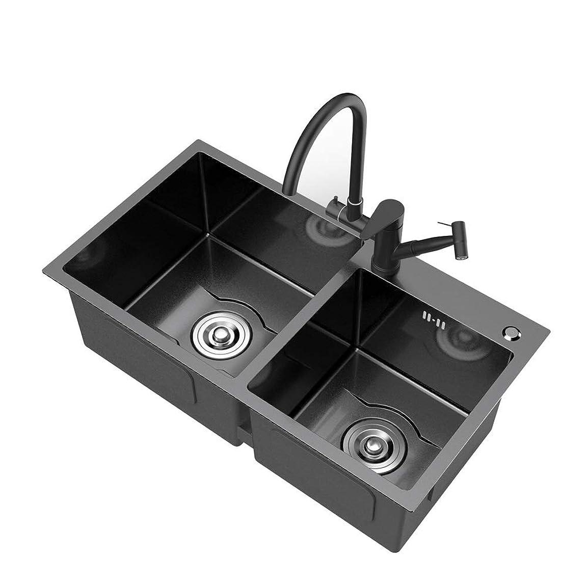 現れる銛提出するシンク 304ステンレス鋼のマニュアルシンクダブルシンクキッチンシンク肥厚洗面 キッチンシンク (色 : Black, Size : 80x45cm)