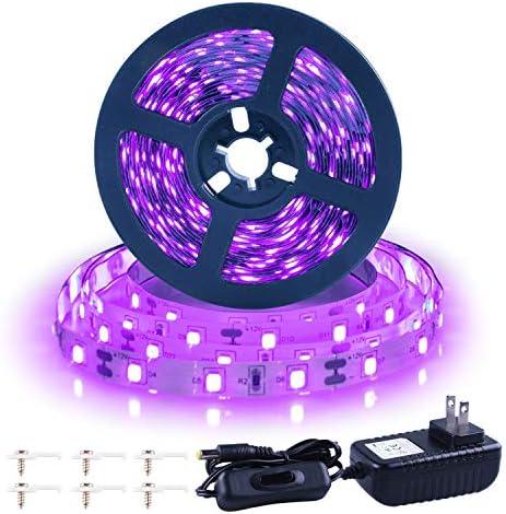 Ontesik 20ft LED Black Light Strip kit 360 LEDs 12V Flexible UV Black Light Installation Family product image