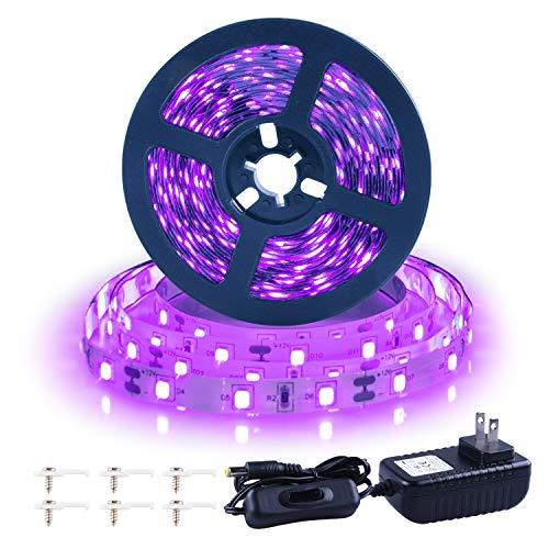 Ontesik 20ft LED Black Light Strip kit, 360 LEDs, 12V Flexible UV Black Light Installation, Family Bedroom, Party Wedding, Halloween, Dark Party, Non-Waterproof