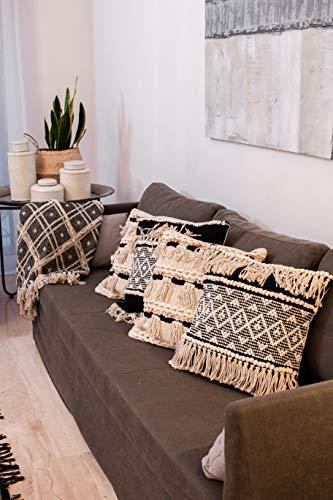 Homevibes Kissenbezug, 45 x 45 cm, ethnischer Stil, 100 % Baumwolle, handgewebt, hochwertige Details Design 1