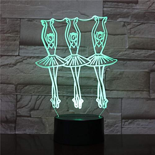 3D Luz De Noche De Niña De Ballet,Regalo De Para Navidad,Día Festivo,Cumpleaños,Decoración De Habitación Infantil,Con 16 Colores Cambiantes,Con Toque De Control Remoto Ilusión Óptica Luz De Noche