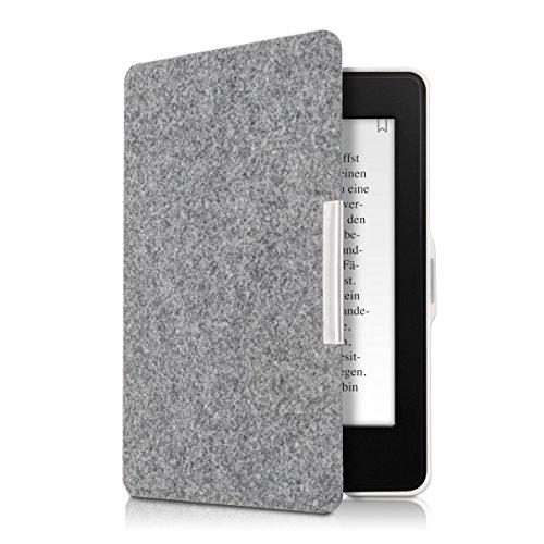 kwmobile Hülle kompatibel mit Amazon Kindle Paperwhite - Filz Stoff eReader Schutzhülle Cover Case (für Modelle bis 2017) - Hellgrau
