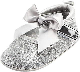 Fanuse Chaussures Princesse Bowknot AntidéRapantes pour BéBé Brillant - Argent, 12-18 Mois