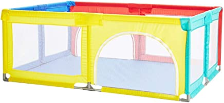 WJSW Adorable Safety Play Center Yard Playpen Large Tent Infant Toddler Fence Household Baby Game Playpen Children s Safety Fence Crawling Bar Zipper Door Shatter-Resistant Toys House