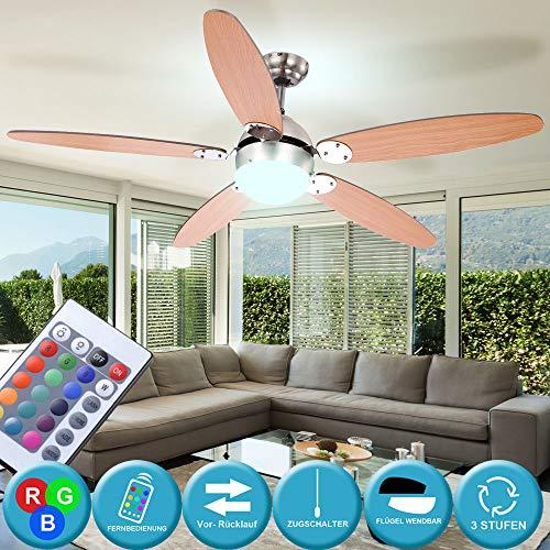 LED Decken Ventilator Lampe Leuchte Vor-Rücklauf einstellbar inkl. RGB Fernbedienung dimmbar Beleuchtung Graphit Buche