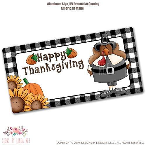 Ced454sy Geschenk Happy Thanksgiving Schild Türkei Pilgerzeichen Herbstkranz Gedruckt Handwerk Zubehör Nummernschild Auto Zubehör Kranz Bedruckt Supplies