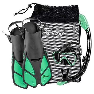 Seavenger Aviator Snorkel Set: Mask, Fins, Snorkel (Gray/Black Silicone/Peppermint, S/M)