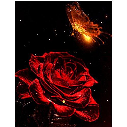 Riou DIY 5D Diamant Painting voll,Stickerei Malerei Crystal Strass Stickerei Bilder Kunst Handwerk für Home Wand Decor gemälde Kreuzstich Rote Rose (Mehrfarbig, 30 * 40cm)
