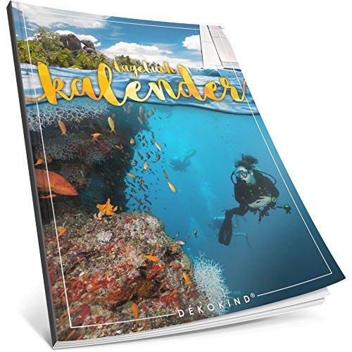 Dékokind® Tagebuch-Kalender: One Line A Day • Ca. A4-Format, Notizseiten & Zitate für jeden Monat • Buchkalender, Aufgabenplaner, Terminplaner • ArtNr. 34 Karibik • Vintage Softcover