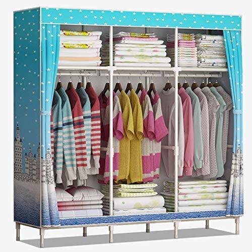 Lipenli Simple Wardrobe Armarios de tela plegable Armario Armario simple reforzados grande de tela armario doble almacenaje de la ropa