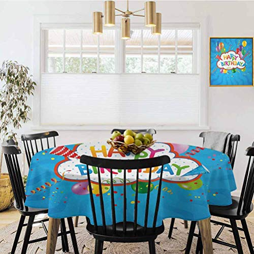 "Small Square Tablecloth,Diameter 70"",Birthday,Wavy Blue Colored Backdrop with Greeting Text Party Hats Confetti Best Wishes,Multicolor,Round Tablecloth Kitchen Table Cover"