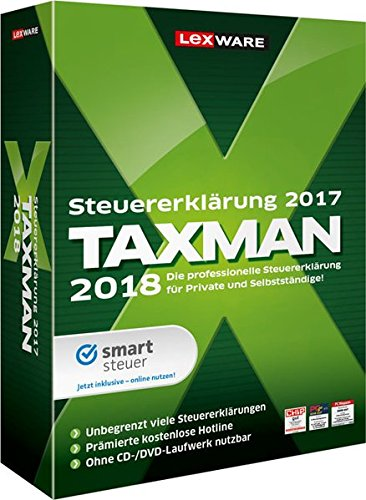 Lexware Taxman 2018 für das Steuerjahr 2017|Übersichtliche Steuererklärungssoftware für Arbeitnehmer, Familien, Studenten und im Ausland Beschäftigte|Kompatibel mit Windows 7 oder aktueller
