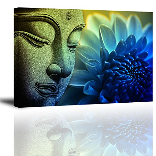PIY 1 Piece Zen Wall Art with Frame, Flower Picture Canvas Prints for Study or Office, Zen Wall Décor Paintings, Waterproof, Blue, 16x24