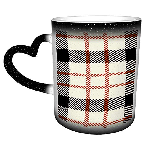 Tartan Seamless Pattern Trendy Wallpapers Farbwechselnde Tasse 11 Unzen lustige Kaffeetasse Keramikbecher-kreative Geschenkauswahl für Kinder und Freunde