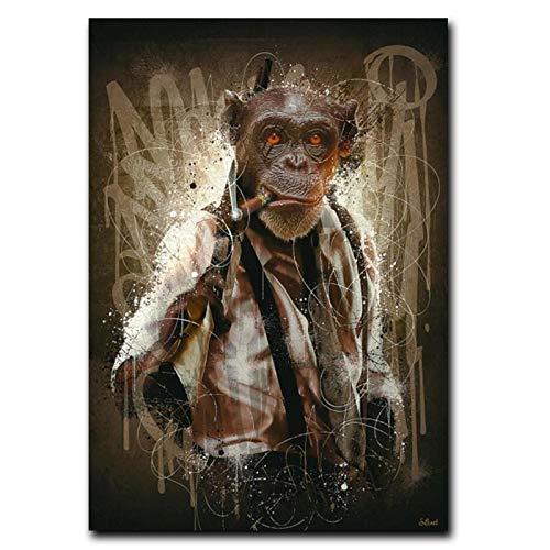 Nativeemie Moderno Graffiti Art Monkey Smoking Cigar Posters e Impresiones Pinturas en Lienzo Imágenes artísticas de Pared Decoración para Sala de Estar 70x100cm / 27.6