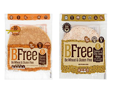 BFree Gluten Free Variety Pack Tortilla Wraps Sweet Potato, and Tortilla Wraps Quinoa and Chia Seed, 2 Packs Each, Vegan, Egg Free, Soy Free, Nut Free, Dairy Free
