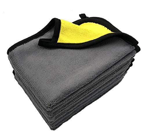 VAIYNWOM 6er Set Microfasertuch Autopflege Poliertuch, Sehr Weich Mikrofaser Handtuch 550GSM Microfasertuch Lackschonend, Fusselfreie Mikrofasertücher zum Reinigung Auto Motorrad, 30x40cm(±1CM) Gelb