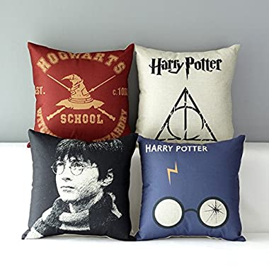 TavasDecor 17  Hogwarts Harry Potter Decorative Home Sofa Throw Pillow Case Cushion Cover - Bundle 4 Pieces One Set
