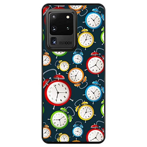 Telefoonhoesje voor [ Samsung Galaxy S20 Ultra 5G ] tekening [ Wekker op een donkere ochtend ] Zwart TPU flexibele siliconen schaal