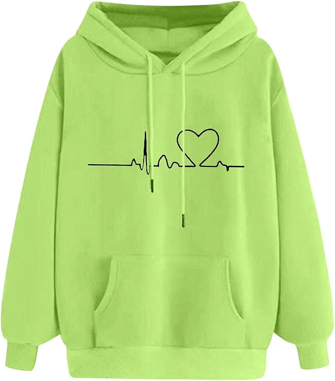 Girls Hoodie Heart Printed Cute Hooded Sweatshirt Women Sport Casual Long Sleeve Blouse Pullover Summer Tops