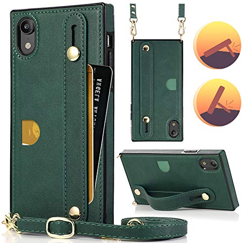 iPhone XR Case,Crossbody Wallet Case Leather with Hand Strap Holder, Card Holder,Kickstand, Detachable Shoulder Strap,HOGGU Protective Back Cover Square Case Compatible with iPhone XR-Green