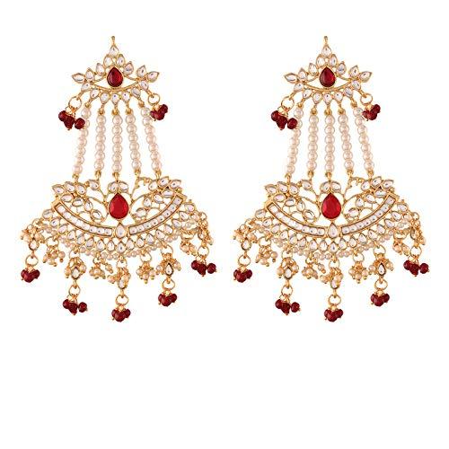 I Jewels Pendiente de Paasa con gota de perla Kundan de Bollywood chapado en oro de 18 quilates para mujer (E2636M)