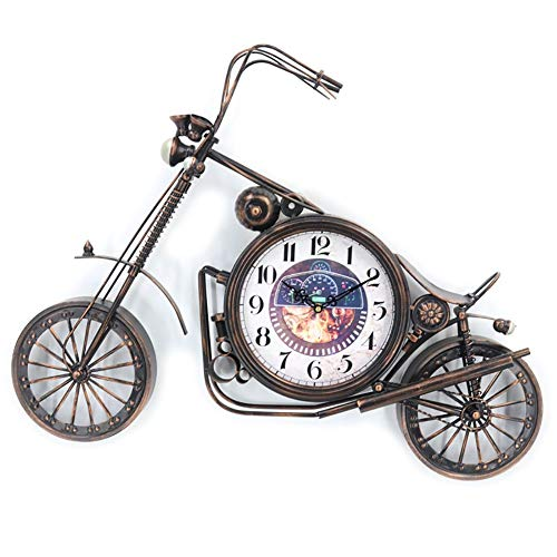 Creative Wall Clock Antieke Crafts Vintage Style Fiets Bureau & Shelf Opknoping Klokken Modern Binnenlandse Zaken Decoration tafelblad display Ornament (Color : Brass)