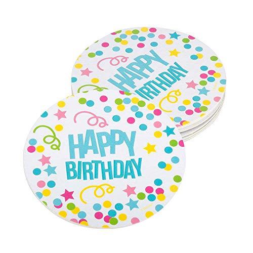 Boland 31010 - Bierdeckel Happy Birthday, 10 Stück, Pappe, Durchmesser 10 cm, Untersetzer, Bierfilzl, Tischdekoration, Party, Geburtstag