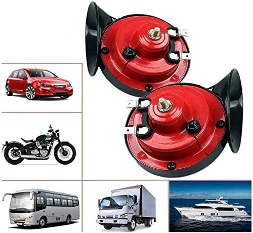 NUENUN 2 pcs 300DB Super Loud Train Horn for Truck Train Boat Car Air Electric Snail Single Horn, 12v Waterproof Double Horn Raging Sound Raging Sound for Car Motorcycle