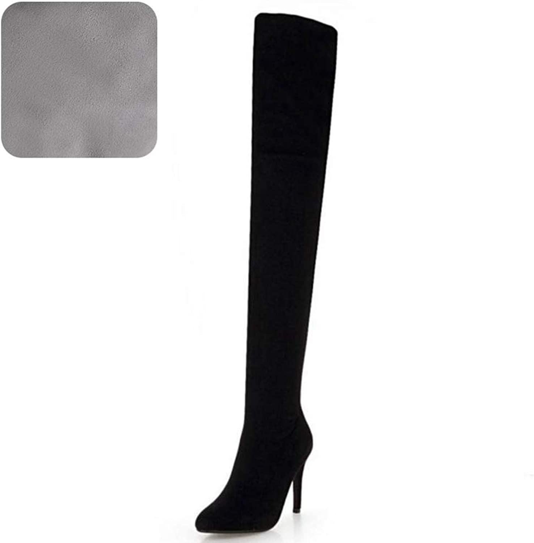 T -JULY Winter Winter Winter Woherrar Over the Knee stövlar Fur Zipper Point Toe hög klack Long skor  allt i hög kvalitet och lågt pris
