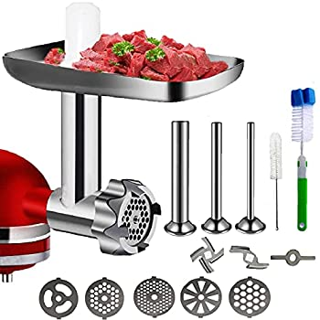 Metal Food Grinder Attachment for KitchenAid Stand Mixers, Meat Grinder Kitchen Aid Asseccories for KitchenAid,Includes 3 Sausage Stuffer Tubes 5 Grinding Plates,Silver