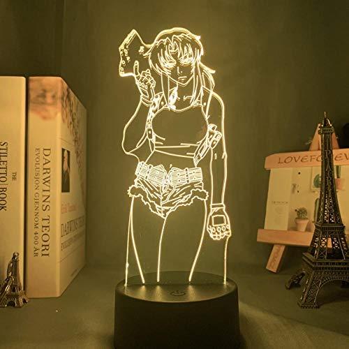 Lámpara de anime 3D ilusión de la laguna negra Revy luz nocturna LED para decoración de dormitorio, colorida luz nocturna, regalo Revy Laguna Negra sin control remoto