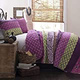Lush Decor Royal Empire Quilt Striped Pattern Reversible 3 Piece Bedding Set, King, Plum