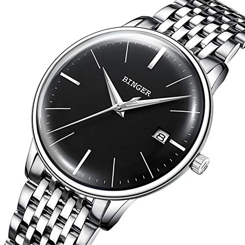 B BINGER Men's Japanese Movement Automatic Mechanical Watch Curved Crystal (Steel Black)