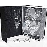 Set de 2 Copas de Cristal para champán - para Novios - Bodas de Plata/Oro - Aniversarios - colección Celebration-ALIANZAS - Aplique bilaminado.