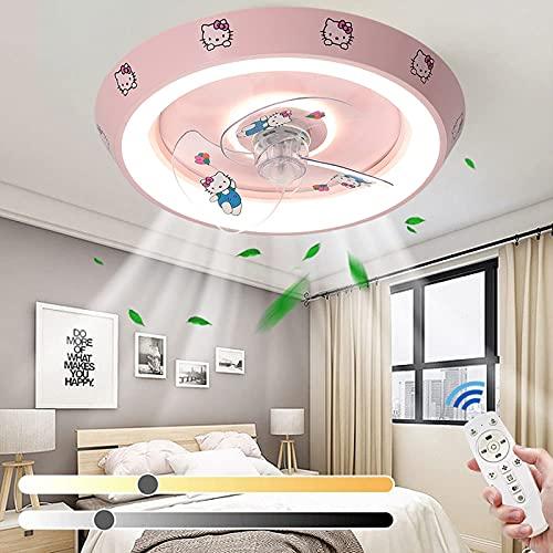 VOMI LED Niños Dormitorio Ventilador Regulable Plafon Lámpara Dibujos Animados Habitación Infantil Pequeño Ventilador de Techo con Luz y Mando a Distancia Silencioso Sincronización Inteligente, Rosado