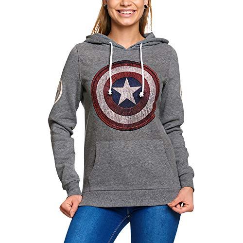 Capitán América, Sudadera con Capucha, Logotipo de la Marca, con Capucha Retro Marvel Elvenwald Gris - XL
