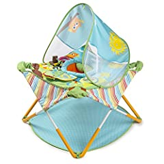 Lightweight folding frame comes fully assembled, unfolds in seconds, and features 3-levels of height adjustment Jumping support seat can be easily removed and machine washed Toys include spinner ball, rattle, teether and mirror book. UV canopy protec...