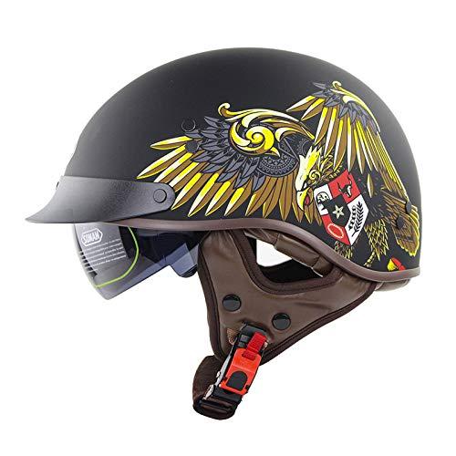Casco De Motocicleta Motocicleta Half Casco, Motocicleta Convertible, Crash Moped Scooter Boya Cruiser Machete Biker Skull Cap Casco Casco,Eagle,L