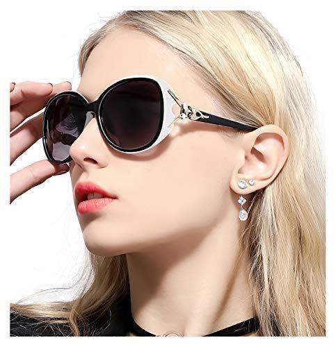 FIMILU Gafas de Sol Gran Tamaño Mujeres– Aptos para Conducir – Montura Envolvente Cómoda con Protección UV400 (Blanco,Gris)