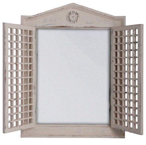 Esschert Design Fenster, Holz, Spiegel, weiß, 46.8 x 4.5 x 61.5 cm