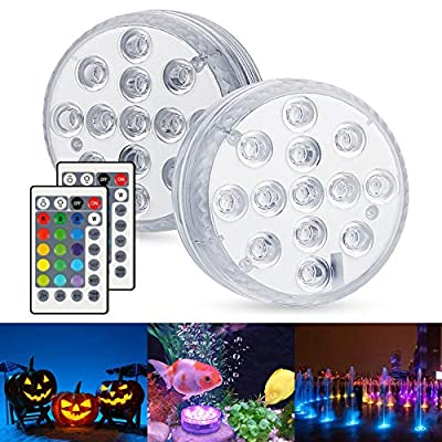 Hot Tub Lights, Zorara 2pcs Waterproof Pond Lights, Pool Lights Underwater Bath Spa Lights with IR Remote Bright 13 LEDs Submersible LED Lights for Garden Swimming Pool Fish Tank Decorations Home