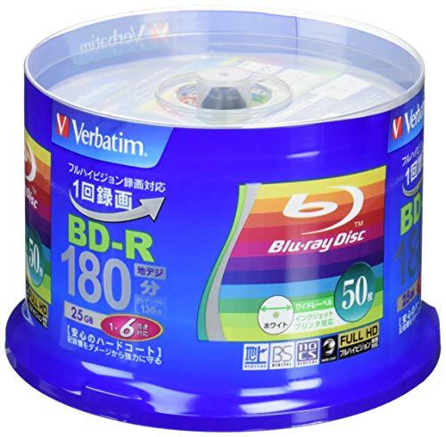 『Verbatim バーベイタム 1回録画用 ブルーレイディスク BD-R 25GB 50枚 ホワイトプリンタブル 片面1層 1-6倍速 VBR130RP50V4』のトップ画像