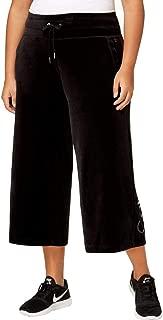 Womens Velour Quick Dry Wide Leg Pants Black 3X