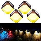 Luces solares con 2 modos opcionales, luces LED coloridas para exteriores de madera, Fence Garden Patio Yard, 4 unidades